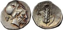 LUCANIA, Metapontum. Circa 400-340 BC. AR Didrachm or Nomos RARE