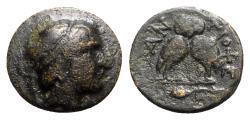 Ancient Coins - Caria, Antioch, c. 2nd century BC. Æ - Male head / Owl - RARE
