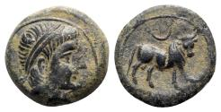 Ancient Coins - Spain, Castulo, late 2nd century BC. Æ Half Unit - Semis