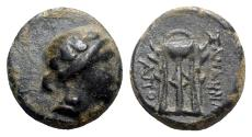 Ancient Coins - Phrygia, Sanaos, c. mid 2nd to early 1st century BC. Æ - Apol-, magistrate - VERY RARE