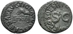 Ancient Coins - Claudius (41-54). Æ Quadrans. Rome, AD 41. Hand , holding scales. R/ Large S • C
