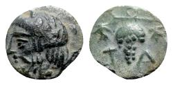 Ancient Coins - Aeolis, Temnos, 3rd century BC. Æ - Dionysos / Grape bunch