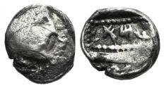 Ancient Coins - Phoenicia, Arados. Uncertain king, c. 380-351/0 BC. AR Obol. R/ Galley; Aramaic M A above