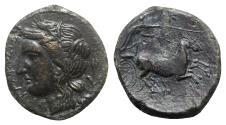 Ancient Coins - Sicily, Syracuse. Hiketas II (287-278 BC). Æ