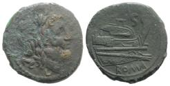 Ancient Coins - ROME REPUBLIC APULIA-LUCERIA. Anonymous. 211-208 BC. Æ Semis. Luceria mint.