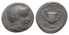 Ancient Coins - Lesbos, Methymna, c. 450/40-406/379 BC. AR Obol 7mm. R/ Kantharos