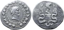 Ancient Coins - Marc Antony and Octavia AR Cistophoric Tetradrachm of Ephesus, Ionia. 39 BC.