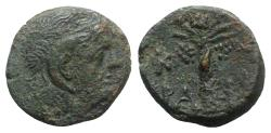 Ancient Coins - Kyrene, time of Magas (King of Kyrene, c. 282/75-261 BC). Æ 18mm. Head of Zeus-Ammon. R/ Palm tree
