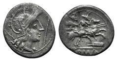 Ancient Coins - ROME REPUBLIC Staff and feather series, Uncertain mint, c. 206-200 BC. AR Denarius RARE
