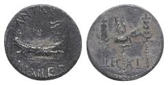 Ancient Coins - Mark Antony, Patrae(?), Autumn 32-spring 31 BC. AR Denarius. Legionary issue. Galley  R/ LEG XI, legionary aquila between two signa.