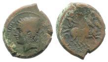 Ancient Coins - ITALY. Samnium, Aesernia, c. 263-240 BC. Æ 23mm Head of Vulcan R/ Jupiter in biga