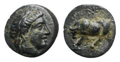 Ancient Coins - Mysia, Gambrion, after 350 BC. Æ - Apollo / Bull