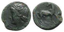 Ancient Coins - Bruttium, Carthaginian occupation, c. 215-205 BC. Æ - Tanit / Horse