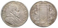 World Coins - Papal States, Roma. Clemente X (1670-1676). AR Testone, Jubilee 1675.  R/ The Holy Door, flanked by angels. RARE