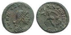 Ancient Coins - Arcadius (383-408). Æ 12mm. Uncertain mint. NICE PORTRAIT !