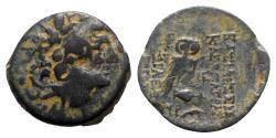 Ancient Coins - Seleukid Kings, Kleopatra Thea & Antiochos VIII (125-121 BC). Æ - Radiate head / Owl