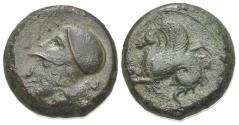 Ancient Coins - Sicily, Syracuse, c. 375-344 BC. Æ  Hemilitron. R/ Hippocamp