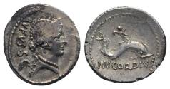 Ancient Coins - Roman Imperatorial, Mn. Cordius Rufus, Rome, 46 BC. AR Denarius. Head of Venus. R/ Cupid riding dolphin