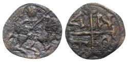 Ancient Coins - Crusaders, Antioch. Anonymous, early 13th century AD. Æ 17mm. Knight on horseback VERY RARE