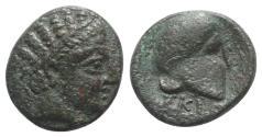 Ancient Coins - Macedon, Skione, c. 400-350 BC. Æ 17mm. R/ Corinthian helmet