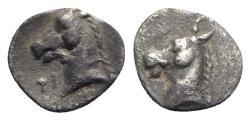 Ancient Coins - Southern Apulia, Tarentum, c. 325-280 BC. AR Three-Quarter Obol