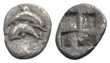 Ancient Coins - Island of Thrace. Thasos, c. 500-480 BC. AR Hemiobol