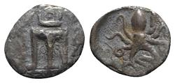 Ancient Coins - Bruttium, Kroton, c. 460-440 BC. AR Triobol - Tripod / Octopus