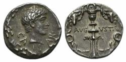 Ancient Coins - Augustus. 27 BC-AD 14. AR Denarius. Uncertain eastern mint. Struck circa 17 BC. Near EXTREMELY FINE