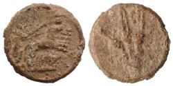Ancient Coins - Roman PB Tessera, c. 1st century BC - 1st century AD. Figure on quadriga R/ Three corn-ears