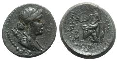 Ancient Coins - Lydia, Philadelphia. 2nd-1st centuries BC. Æ 22mm. Hermippos, son of Hermogenes, archieros. R/ APOLLO