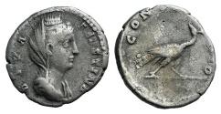 Ancient Coins - Diva Faustina Senior. Died AD 140/1. AR Denarius. Commemorative issue. Rome mint. Struck under Antoninus Pius, circa AD 146-161. R/ Peacock