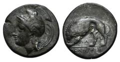 Ancient Coins - ITALY. Northern Lucania, Velia, c. 334-300 BC. Plated Didrachm R/ LION