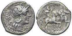Ancient Coins - ROME REPUBLIC M. Vargunteius, Rome, 130 BC. AR Denarius. R/ Jupiter driving triumphal quadriga