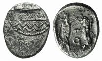 Ancient Coins - PHOENICIA, Sidon. Baalshillem (Sakton) II. Circa 401-365 BC. AR Sixteenth Shekel