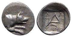 Ancient Coins - Argolis, Argos, c. 90-40 BC. AR Hemidrachm - Damosthes, magistrate