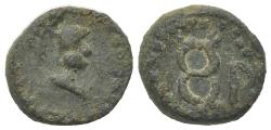 Ancient Coins - Gaul, Massalia, after 49 BC. Æ 13mm. Helmeted bust of Minerva R/ Winged caduceus