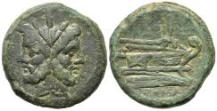 Ancient Coins - ROME REPUBLIC Anonymous, Rome, after 211 BC. Æ As. JANUS R/ Prow of galley NICE !