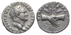 Ancient Coins - Titus (Caesar, 69-79). AR Denarius. Rome, AD 73. R/ Clasped hands RARE