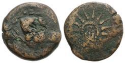 Ancient Coins - Spain, Malaka, 2nd century BC. Æ Unit. Head of Hephaistos R/ Radiate facing head of Helios