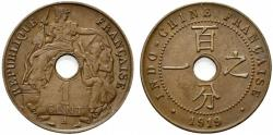World Coins - French Indochine (Indochina), 1 Cent 1919. KM 12.1. Good EF