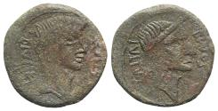Ancient Coins - Octavian and Divus Julius Caesar, South Italy, 38 BC. Æ Sestertius (or Dupondius?). Head of Octavian R/ Head of Divus Julius Caesar