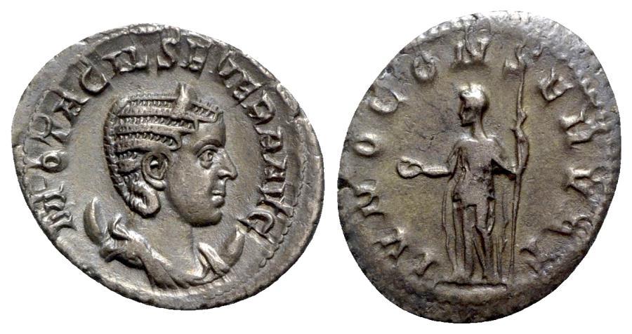Ancient Coins - Otacilia Severa (Augusta, 244-249). AR Antoninianus - R/ Juno
