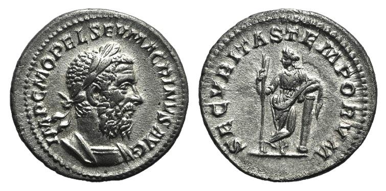 Ancient Coins - Macrinus (217-218). AR Denarius. Rome, 217-8. R/ Securitas EXTREMELY FINE