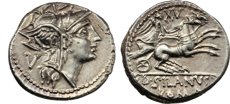 Ancient Coins - ROME REPUBLIC D. Silanus L.f. AR Denarius, 91 BC. Virtually as struck