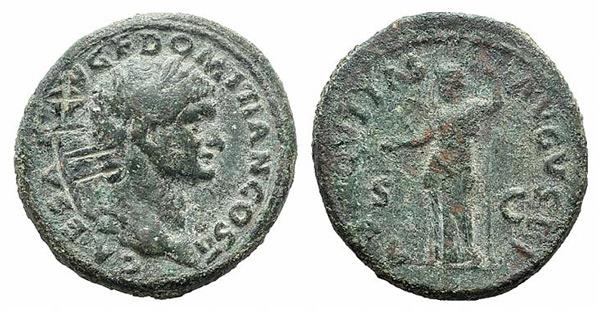 World Coins - Ostrogoths in Italy, c. 6th century. AE Follis. Countermark LII on Domitian As. RARE