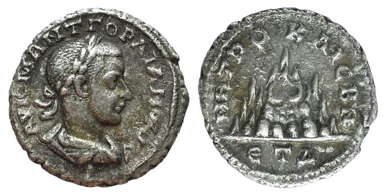 Ancient Coins - Gordian III (238-244). Cappadocia, Caesarea-Eusebia. AR Drachm, year 4 (240/1). R/ Mt. Argaeus