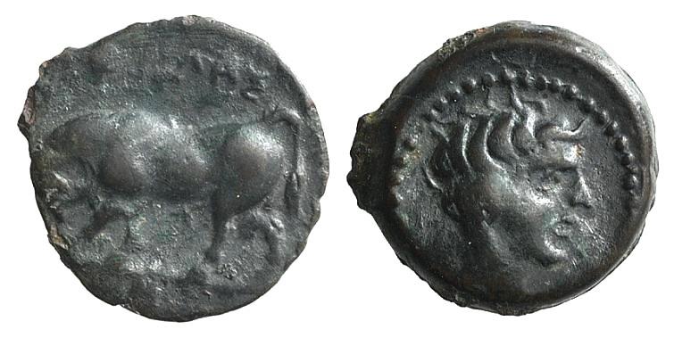 Ancient Coins - Sicily, Gela, c. 420-405 BC. AE Onkia