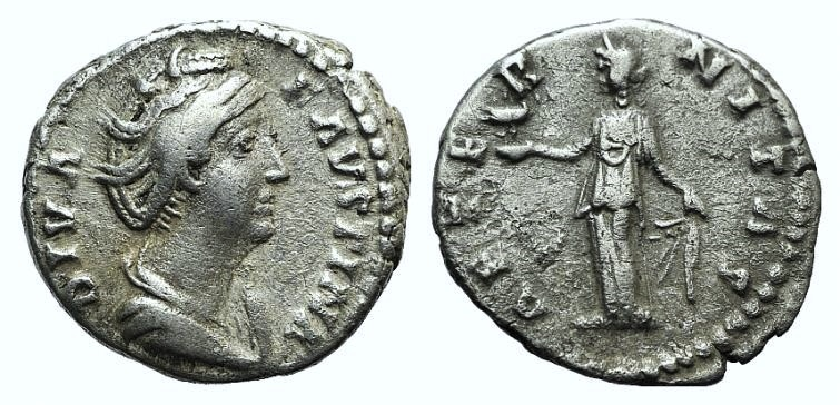 Ancient Coins - Diva Faustina Senior (died 140/1). AR Denarius. Rome, after 146. R/ Aeternitas