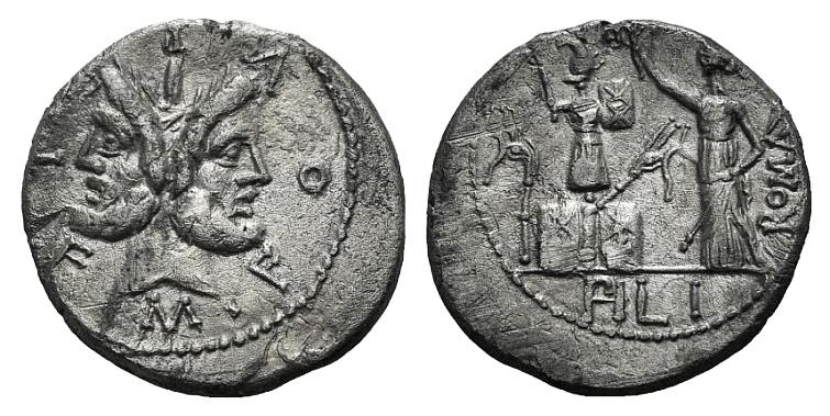 Ancient Coins - Rome Republic M. Furius L.f. Philus, Rome, 120 BC. AR Denarius. Head of Janus.