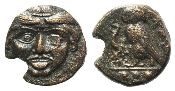 Ancient Coins - Sicily, Kamarina, c. 420-405 B.C. AE Tetras. Facing gorgoneion. R/ Owl